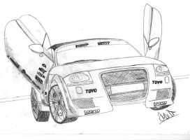 Bisimoto Porsche 911 Twin Turbo Drawing by hary1908 on