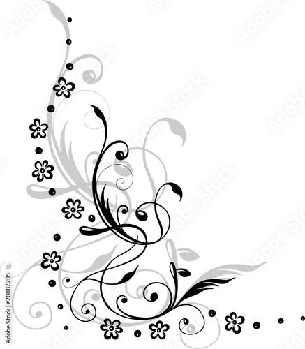 black art Blumen Blten Ranke floral Schnrkel