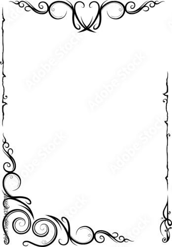 Rahmen floral ornamental filigran Schnrkel von