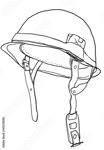 Army Military Helmet Drawing Sketch Coloring Page