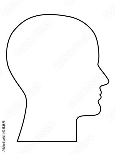 Fototapete Menschlicher, haarloser Kopf seitlich im Profil