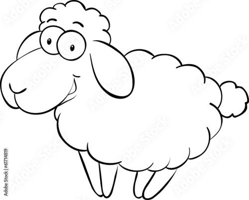 Fototapete Ausmalbild lachendes Schaf