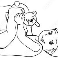 """""""Baby spielt mit Teddy Ausmalbild"""" Stockfotos und ..."""