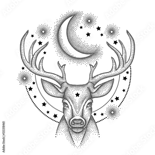 Vector illustration with dotted head deer with antlers