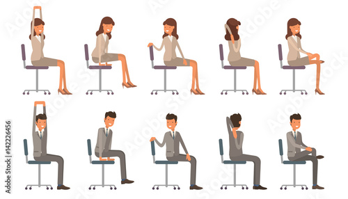 office chair illustration mat 45 x 60 yoga corporate workout vector on white isolated background business man and
