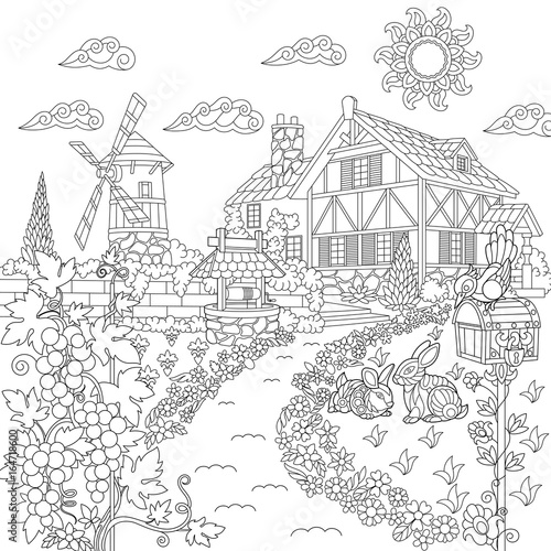 Coloring book page of rural landscape. Farm house