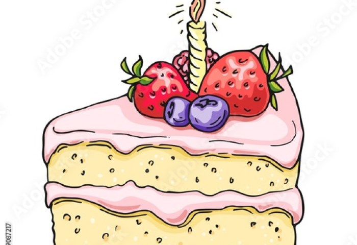Hand Drawn Birthday Cake Colorful Draft Sketch Isolated On White