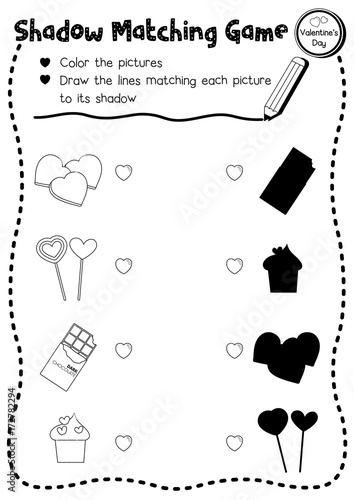 Shadow matching game of food for preschool kids activity