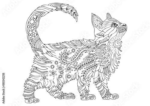 Hand drawn cat. Sketch for anti-stress adult coloring book