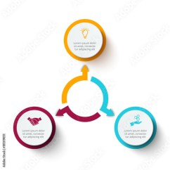 3 Arrow Circle Diagram Tahoe Parts Vector Elements With Arrows For Infographic Template Cycle Graph Presentation