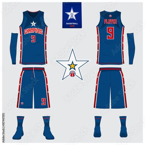 f708832d1b5 Basketball Uniform Template Design Tank Top T-shirt Mockup ...