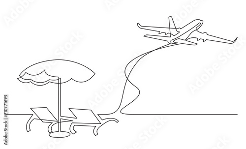 air travel beach chairs wenger orchestra chair continuous line drawing of umbrella and passenger jet