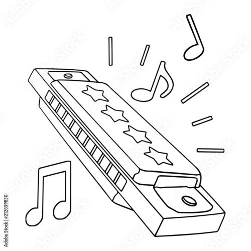 Harmonica cartoon illustration isolated on white
