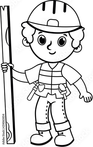 Clip art of black and white construction worker. Vector