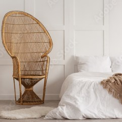 Bedroom Chair With Blanket Blue Covers For Sale Flowers On Wooden Table Next To Rattan In White Interior Bed