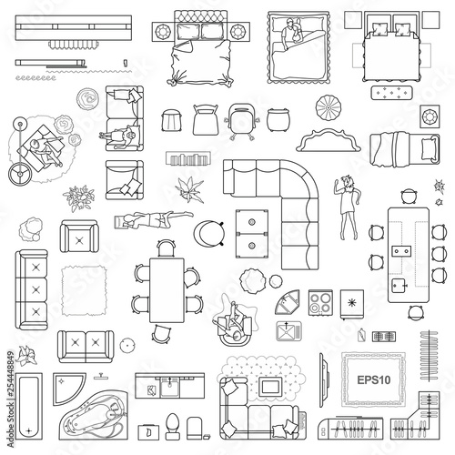 Floor plan icons set for design interior and architectural