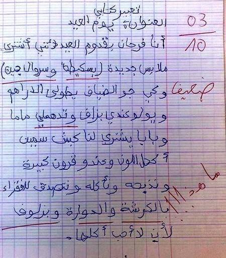 فايسبوكيون يسخرون من إنشاء تلميذ عن العيد