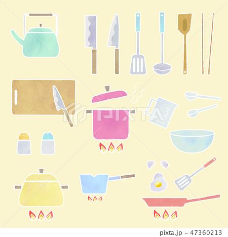 kitchen tool set cabinet reface 湯匙廚房插圖素材 pixta 廚房工具集