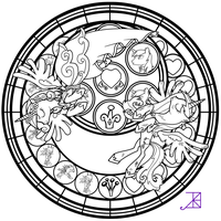 Sunset Shimmer Stained Glass Coloring Page by Akili