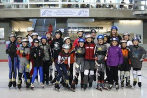 Some of the kids Mallory coaches in speed skating.