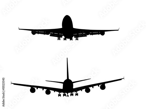 A380 & 747 Silhouettes by JK, Royalty free stock photos