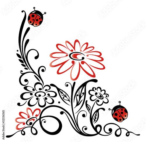 Ranke Flora Blumen Blten Marienkfer Rot Schwarz