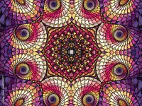 Stained glass church window, digital fractal art design by ...