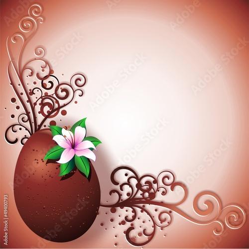Chocolate Egg Easter Card-Uovo di Cioccolato Cornice Auguri