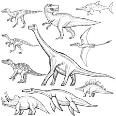 Vector: set of different dinosaurs