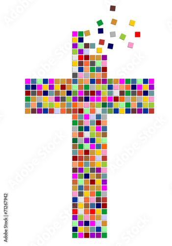 Kreuz aus bunten Quadraten Stockfotos und lizenzfreie