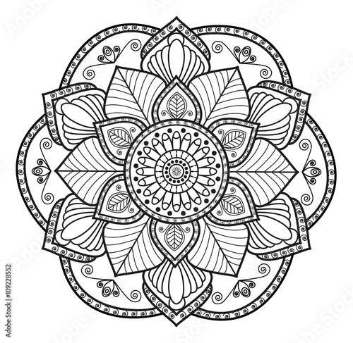 Black And White Mandala Vector For Coloringmandala In