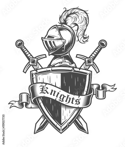 Vintage knight emblem with knight helmet, crossed swords