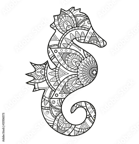 Vector illustration of a black and white seahorse mandala