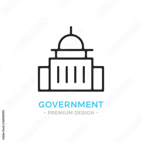 Government icon. Capitol building logo. Premium design