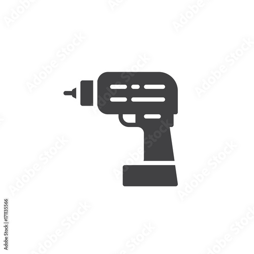 Drilling machine work tool icon vector, filled flat sign