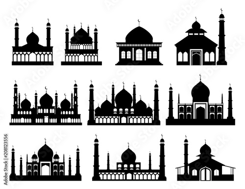 Islamic buildings silhouettes. Mosques and minarets with