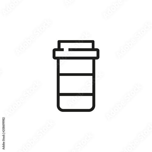 Pill bottle line icon. Drug, painkiller, medication