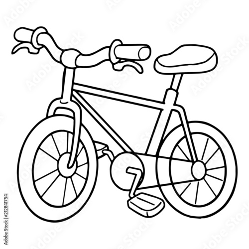 Cute bicycle cartoon illustration isolated on white
