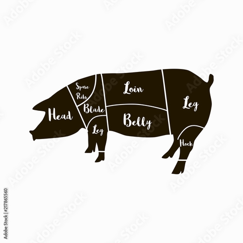 pig cuts diagram digital voltmeter wiring silhouette icon with pork meat and butcher industry infographic vector illustration