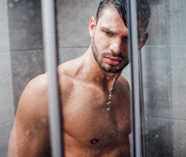 Handsome Naked Muscular Man Taking Shower In Bathroom
