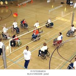Wheelchair Volleyball Black Modern Dining Chairs Stock Photos And Images Age Fotostock Several People With Disabilities Playing A Game Of On An Indoor Court