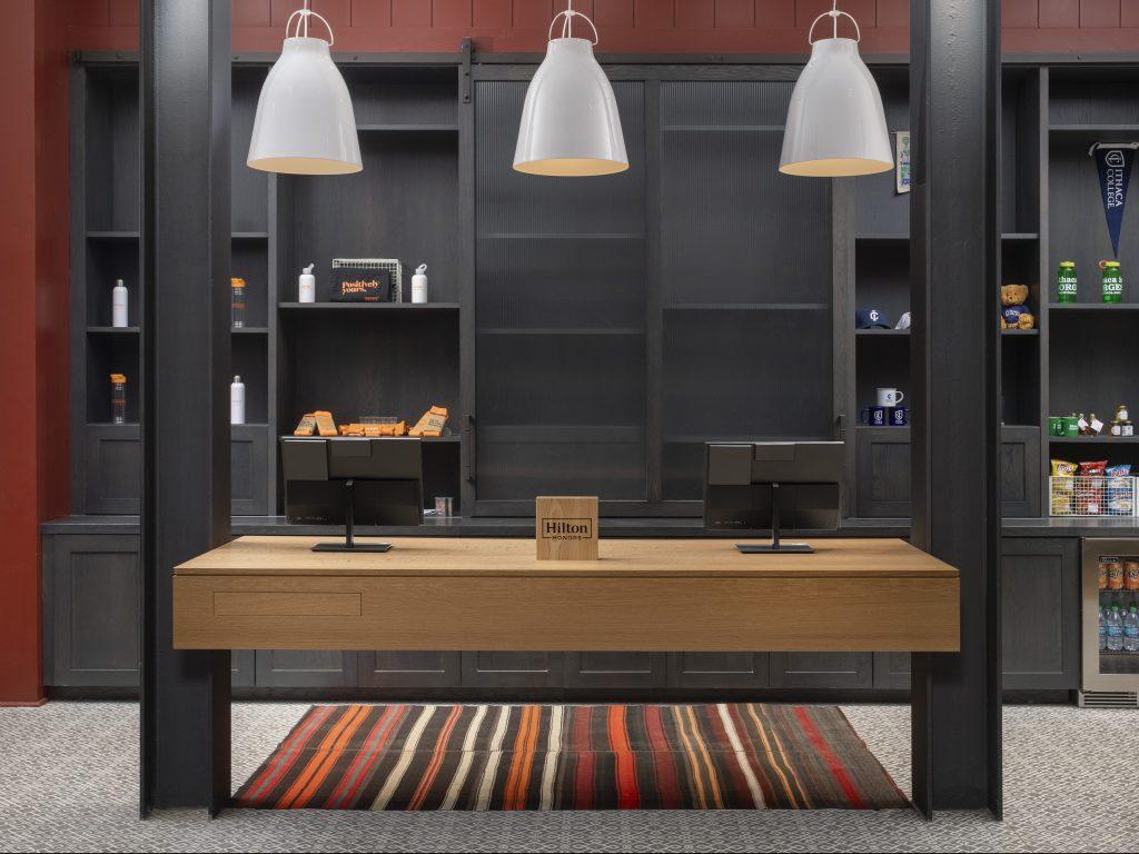Hardwood & veneer desk & storage wall