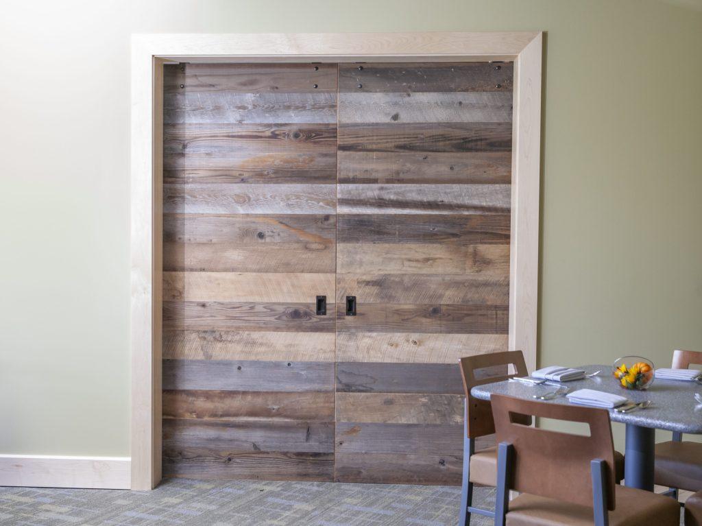 Reclaimed wood sliding doors & hardwood trims