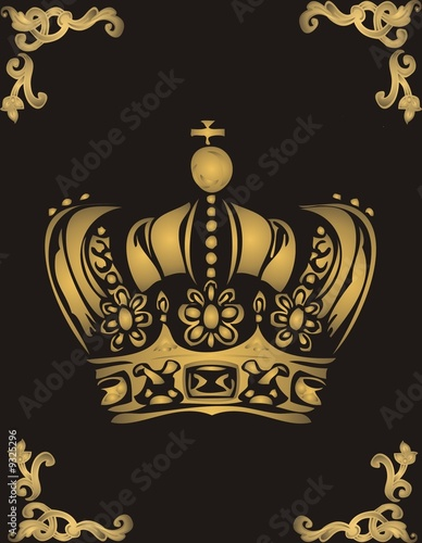Golden Crown On Black Background Stock Photo And Royalty