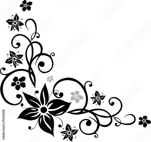 """Blumen Ranke floral ornamental schwarz"" Stockfotos"