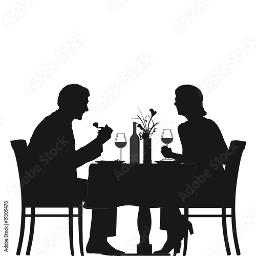Silhouette People Sitting Table 2
