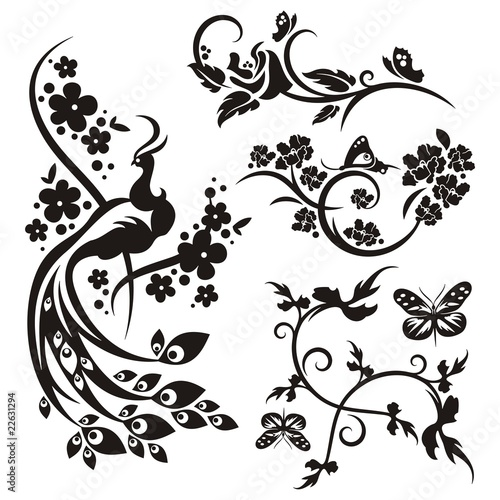 chinese floral designs stock