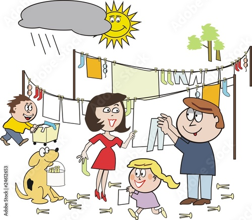 quotFamily laundry cartoonquot Stock image and royaltyfree