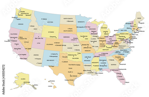 quotUSA Map with Capital Cities Major Cities amp Labelsquot Stock