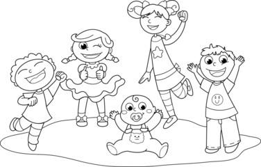 Immagini Bambini Felici Da Colorare